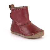 A top view of Froddo children's minimalist boot with wool kids barefoot boot in red
