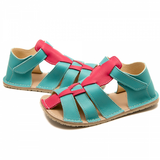 Photo of Blue and pink sandals for girls from ZeaZoo in the US healthy minimalist shoes for kids