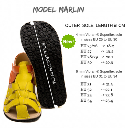 Size chart for Marlin ZeaZoo sandals
