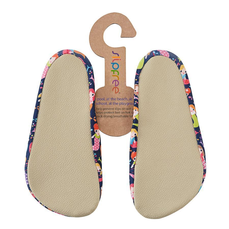 Picture of the back of Slipfree Mermaid water shoes. Minimalist water shoes for kids