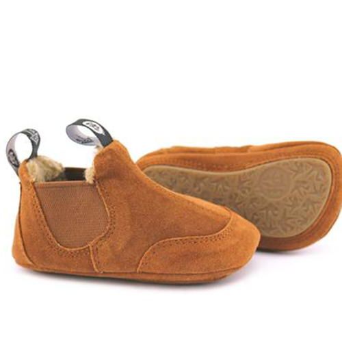 A view of the sole of PaperKrane's BRRR Boots children's barefoot boot in brown toddler shoes