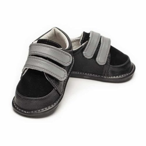 A top-down view of a pair of Jack and Lily's Arlo children's barefoot shoes in black