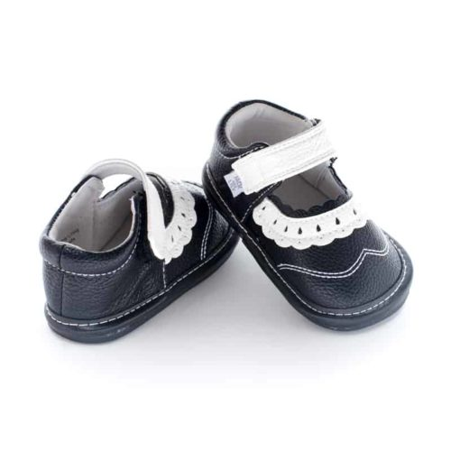 A rear view of Jack and Lily's Lucy children's barefoot shoe in black