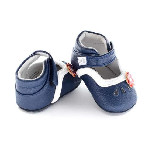 A rear view of Jack and Lily's Charlotte children's barefoot shoe in blue