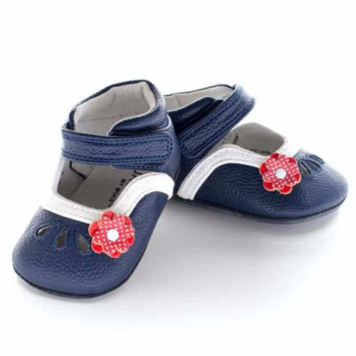 A front view of Jack and Lily's Charlotte children's barefoot shoe in blue