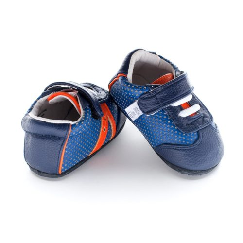 A rear view of Jack and Lily's Denny children's barefoot shoe in blue