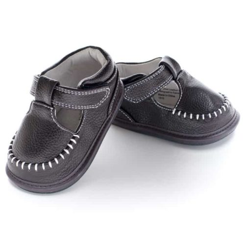 A front view of Jack and Lily's Lincoln children's barefoot shoe in brown