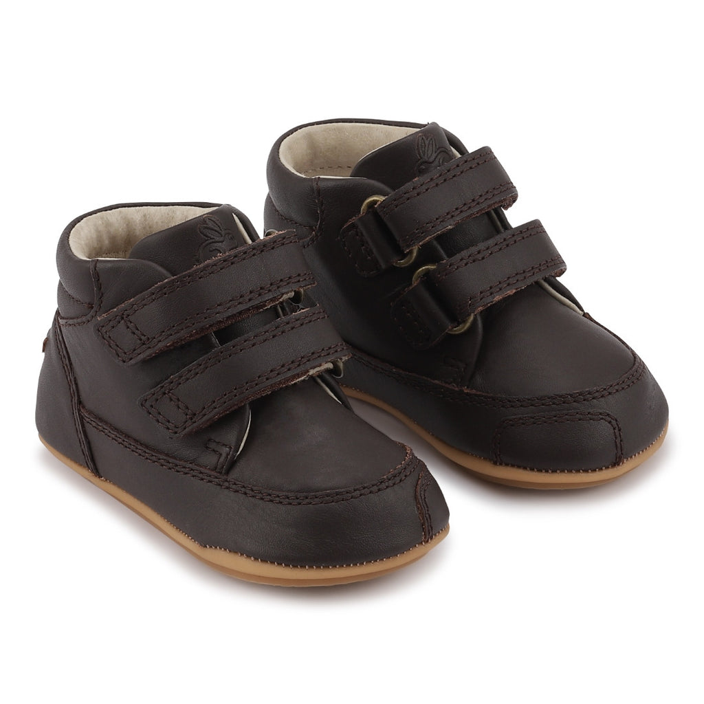 A side view of a pair of Bundgaard's Brown Prewalker II Velcro children's barefoot shoes