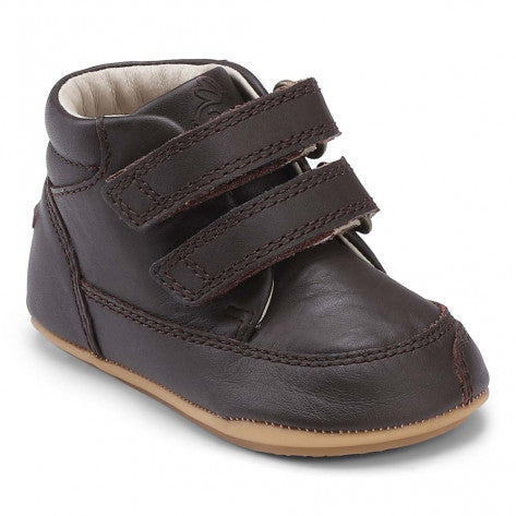 A side view of a Brown Prewalker II Velcro children's barefoot shoes