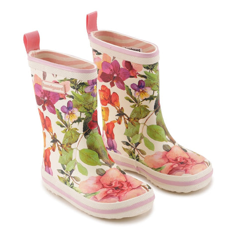 A side view of a pair of Bundgaard's Flower Mix Classic Rubber Boot children's barefoot boots