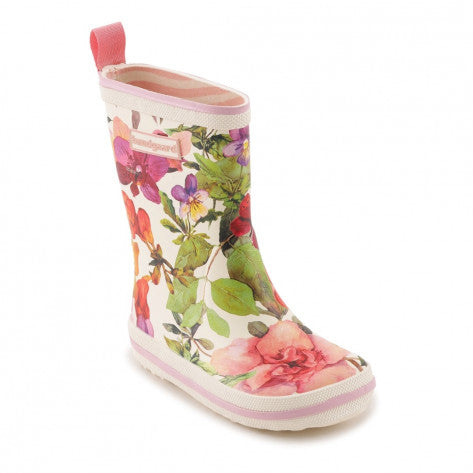 A side view of a Bundgaard's Flower Mix Classic Rubber Boot children's barefoot boots