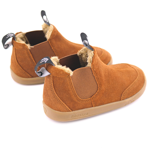 A side and rear view of PaperKrane's BRRR Boots children's barefoot boot in brown