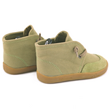 A side  and rear view of PaperKrane's Khaki children's barefoot shoe in green