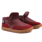 A front view of PaperKrane's Ron (Burgundy) children's barefoot shoe in red