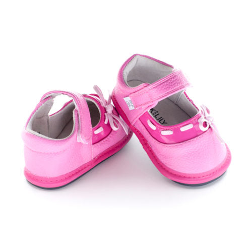 A rear view of Jack and Lily's Stella children's barefoot shoe in pink