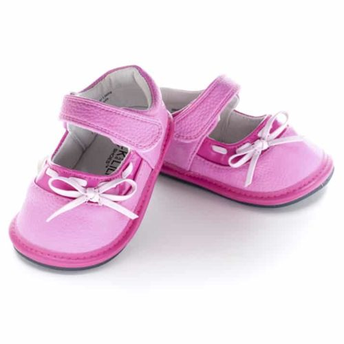 A front view of Jack and Lily's Stella children's barefoot shoe in pink