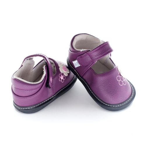 The back of a purple pair of Jack and Lily's Barbie children's barefoot shoe in black