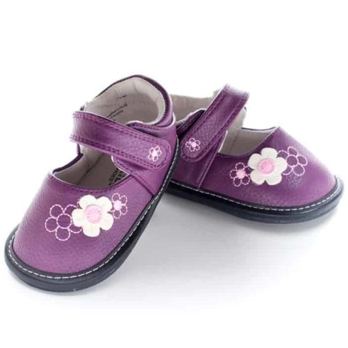 A top-down view of a purple pair of Jack and Lily's Barbie children's barefoot shoe in black