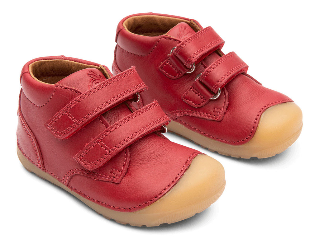 A side view of a pair of Bundgaard's red Petit Velcro children's barefoot shoes