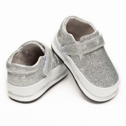 A rear view of Jack and Lily's Cindy children's barefoot shoe with sparkles