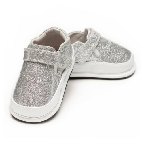 A front view of Jack and Lily's Cindy children's barefoot shoe with sparkles