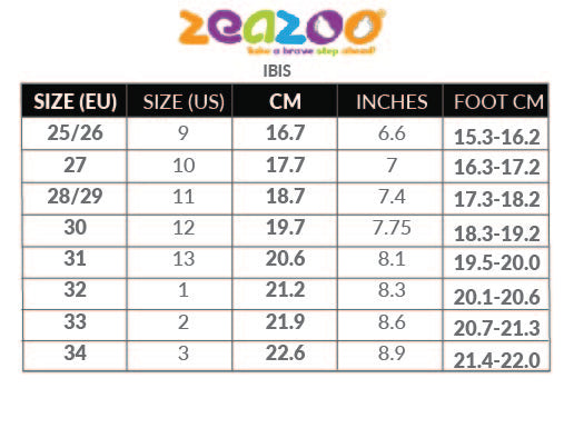 Size Chart for ZeaZoo minimalist shoes IBIS with US sizing