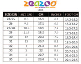 Size Chart for ZeaZoo Leo shoes with US size conversion