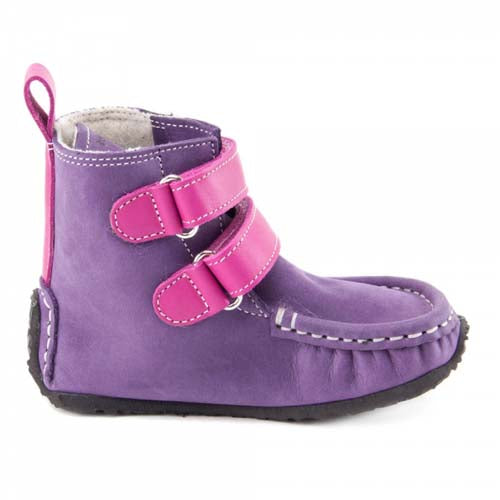 Photo of pink and purple zeazoo yeti boots warm minimalist boots for kids