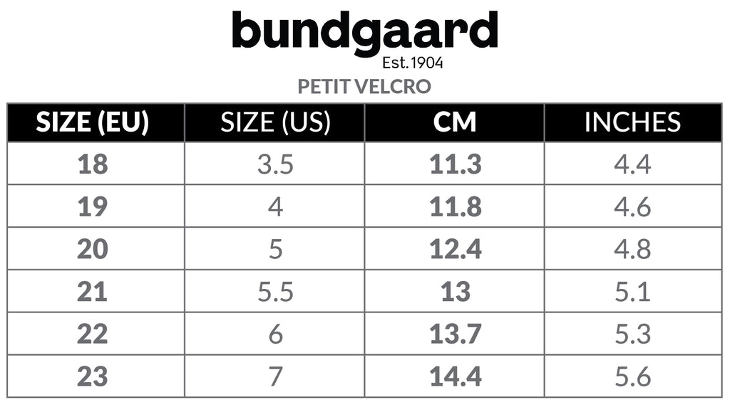 A size chart for Bundgaard's Petit Velcro shoes