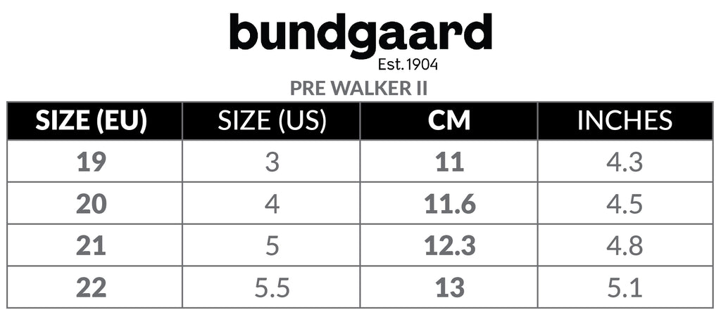 Size Chart for Bundgaard Pre Walker Baby Shoes