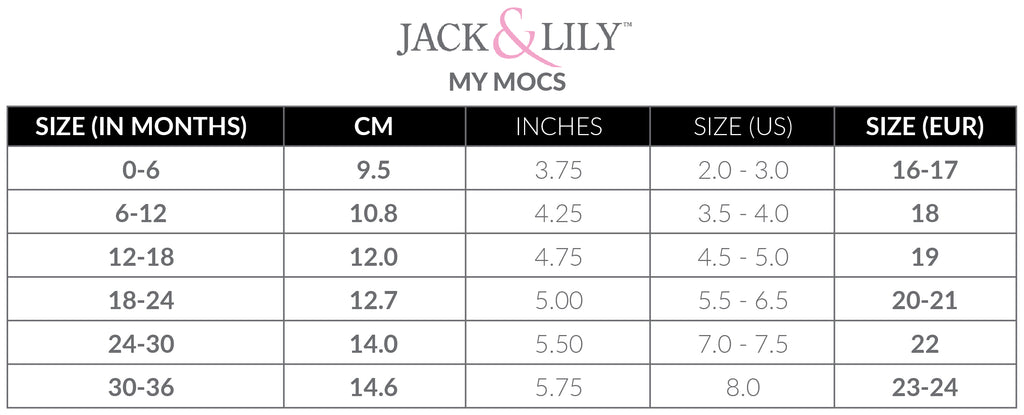 Size chart for Jack & Lily My Mocs