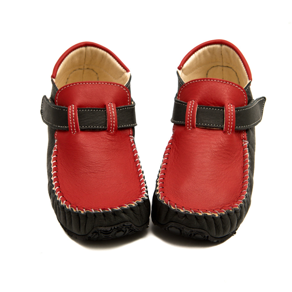 ZeaZoo Red and Gray Leo Minimalist shoes moccasins for kids and toddlers