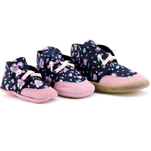PaperKrane Black with purple flower shoes healthy kids shoes barefoot shoes baby toddler big kid