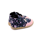 PaperKrane Black with purple flower shoes healthy kids shoes barefoot shoes