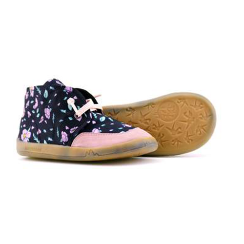 PaperKrane Black with purple flower big kid flexible shoes healthy kids shoes barefoot shoes