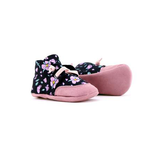 PaperKrane Black with purple flower baby soft suede sole shoes barefoot shoes