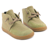 A top view of PaperKrane's Khaki children's barefoot shoe in green healthy minimalist kid shoes