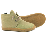 A view of the sole of PaperKrane's Khaki children's barefoot shoe in green