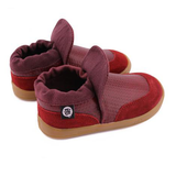 A back view of PaperKrane's Ron (Burgundy) children's barefoot shoe in red healthy kid shoes