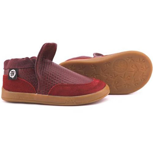 A front view of PaperKrane's Ron (Burgundy) children's barefoot shoe in red kids shoes for wide feet