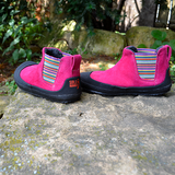 Side and rear view of Sole Runner Portia in Fuxia Pink winter boot barefoot boots for kids