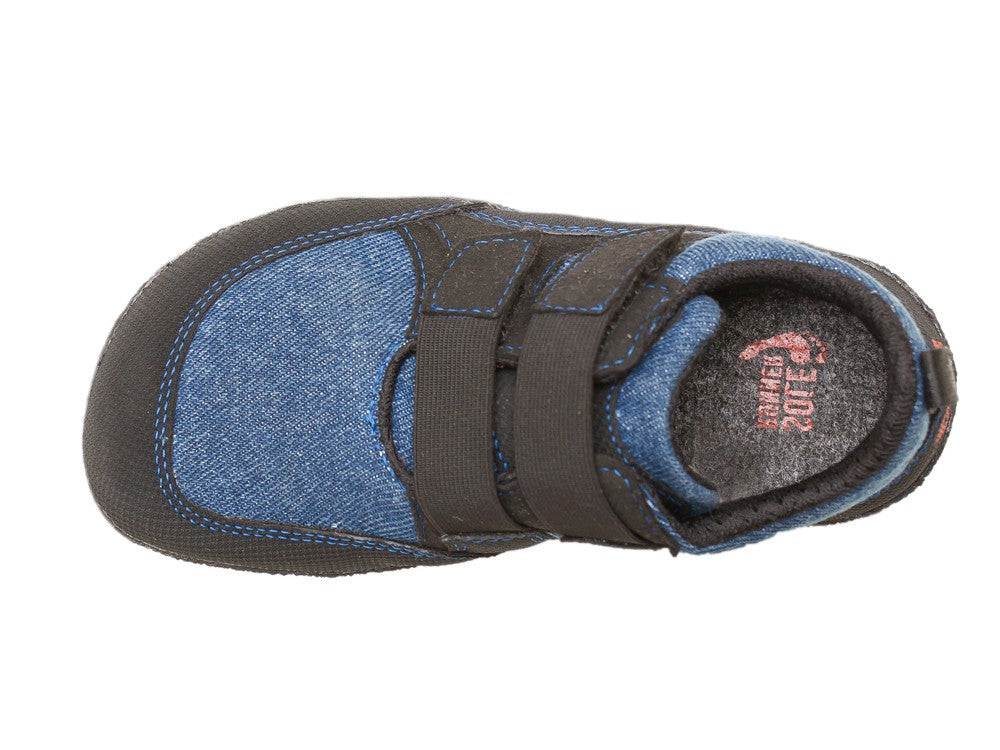 A top-down view of a blue Puck children's barefoot shoe by Sole Runner