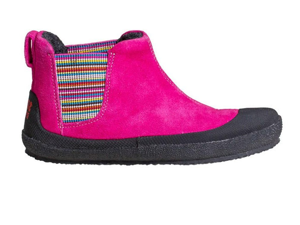 A side view of a pink Portia children's barefoot shoe by Sole Runner