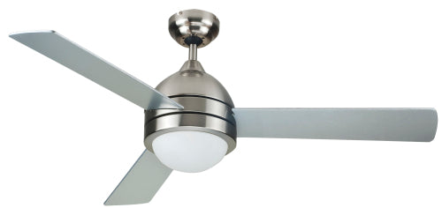 Ceiling fan - Satin Nickel w/ Silver Blades & White Glass, 3 Blade 122cm, 3 Speed Reverse Motor