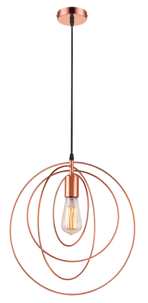 Copper Metal Pendant -1x 60W/11W ES (Not Included)