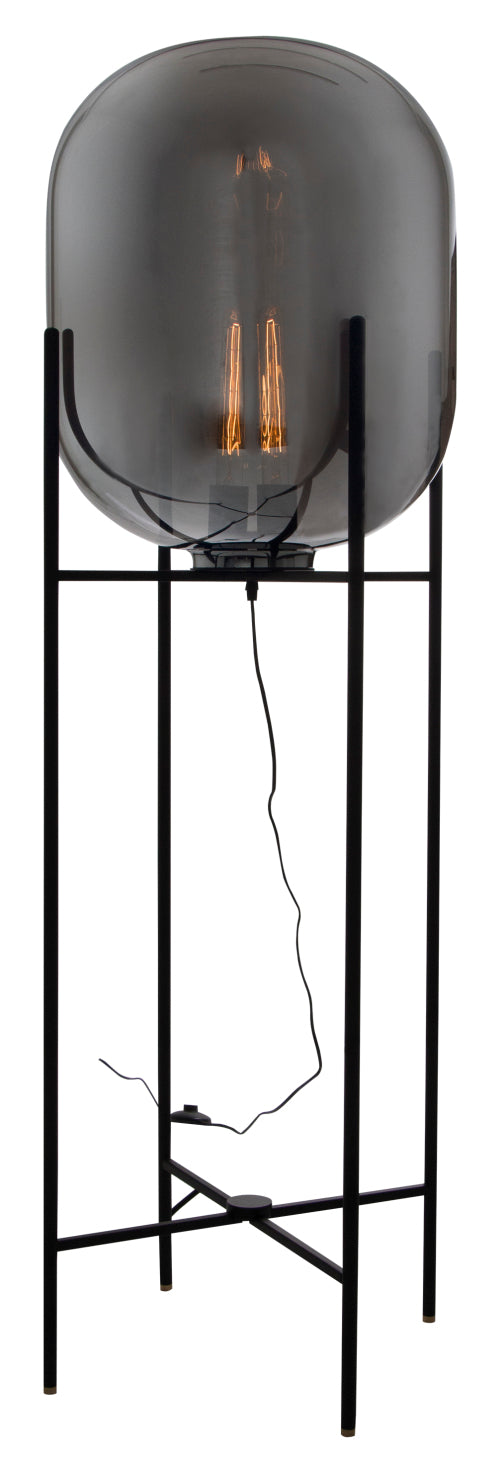 Metal Floor Lamp with Smoke Colour Glass