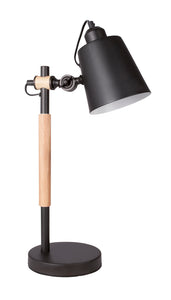 Metal and Wood Table Lamp with Metal Shade, Adjustable -1x 60W ES