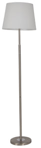 Satin Nickel and Polished Chrome LED Floor Lamp with White Fabric Shade. Built in Switch