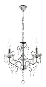 Polished Chrome Chandelier with Crystals -3 x60W SES Width 430mm Height 500mm Chain 1000mm