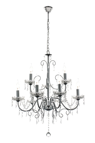 Polished Chrome Chandelier with Crystals -9 x 60W SES Width 660m Height 850mm Chain 1800mm